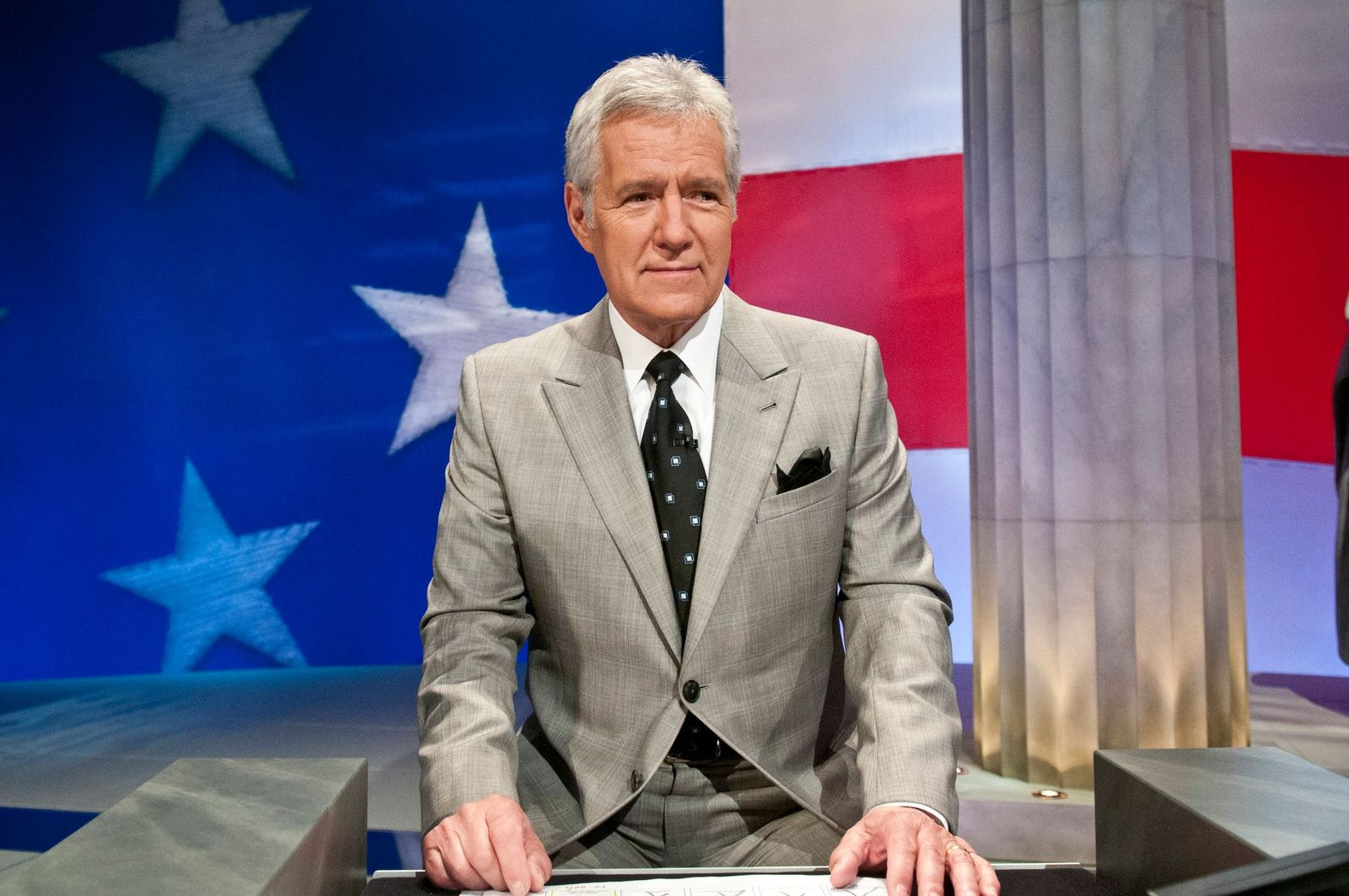 Alex Trebek at a rehearsal before a taping of Jeopardy! Power Players Week at DAR Constitution Hall on April 21, 2012 | Photo: Getty Images