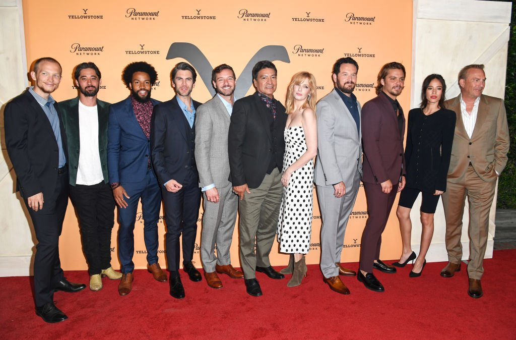 """Jefferson White, Ryan Bingham, Denim Richards, Wes Bentley, Ian Bowen, Gil Birmingham, Kelly Reilly, Cole Hauser, Luke Grimes, Kelsey Chow and Kevin Costner at Paramount Network's """"Yellowstone"""" Season 2 Premiere Party , May 2019 
