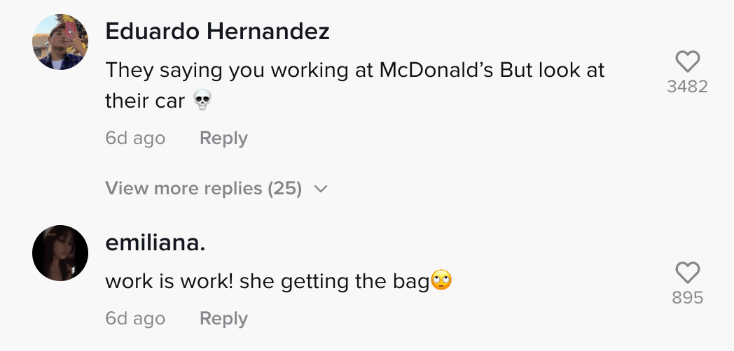 Comment section of video where McDonald's employee showed footage of men who insulted her at drive-thru window | Photo: TikTok/yglingling