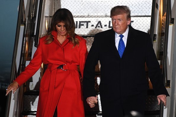 President Donald Trump and First lady Melania Trump arrive at Stansted Airport on December 2, 2019 | Photo: Getty Images