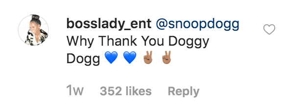 Snoop Dogg wife Shante Broadus responds to his comment on a picture of her wearing a black jump-suit | Source: instagram.com/bosslady_ent