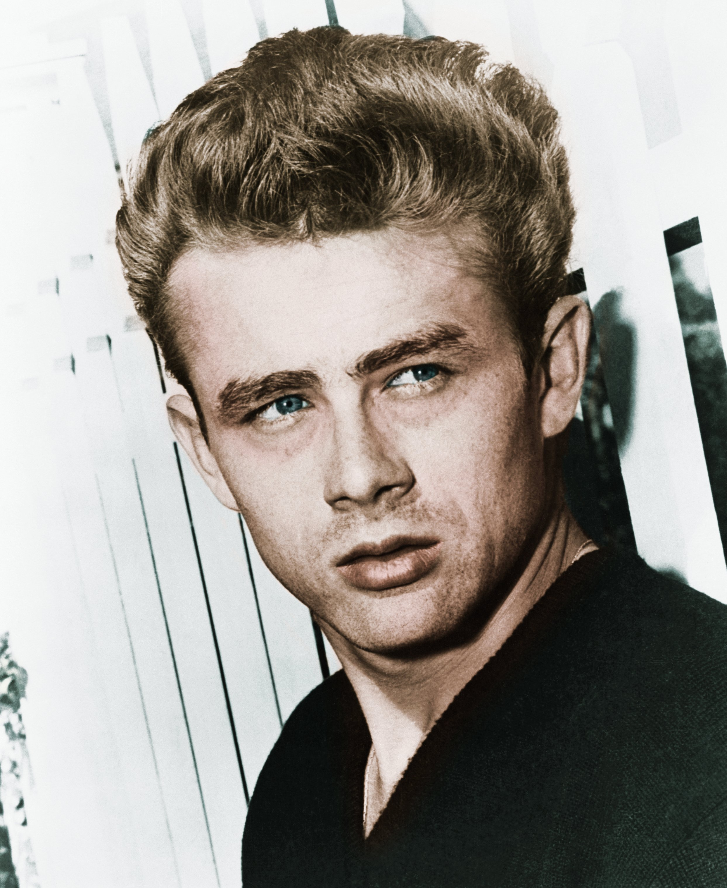 Actor James Dean leaning against a picket fence. | Source: Getty Images