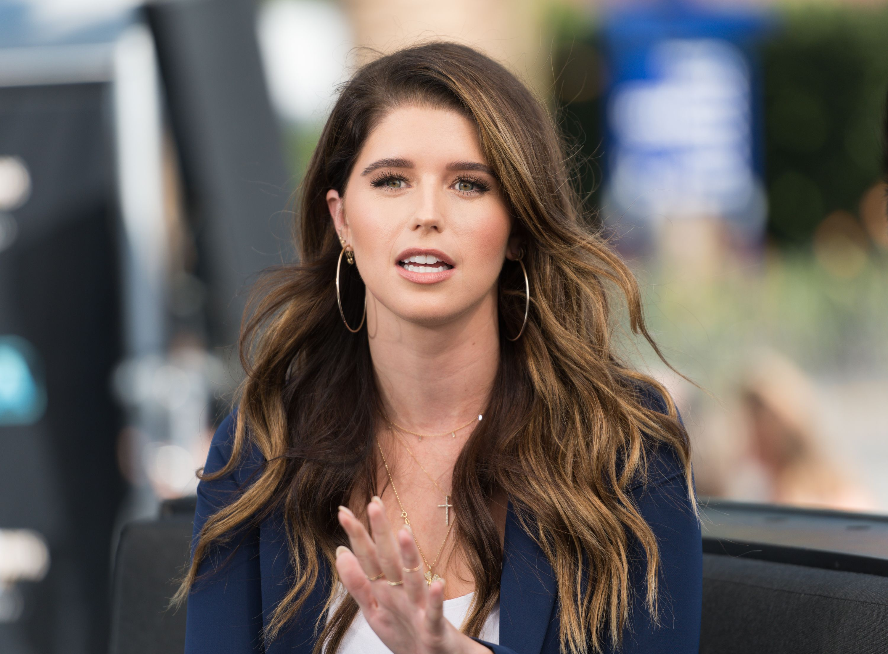 "Katherine Schwarzenegger visits ""Extra"" at Universal Studios Hollywood on September 12, 2017 in Universal City, California 