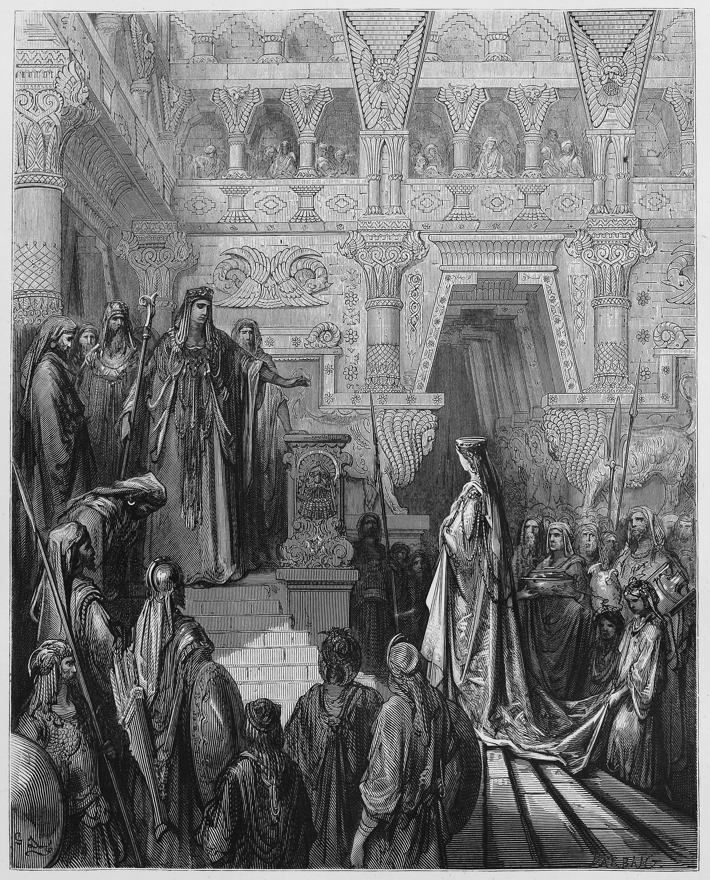 King Solomon received in the palace. Picture from The Holy Scriptures, Old and New Testaments books collection published in 1885, Stuttgart-Germany.  Photo: Shutterstock.