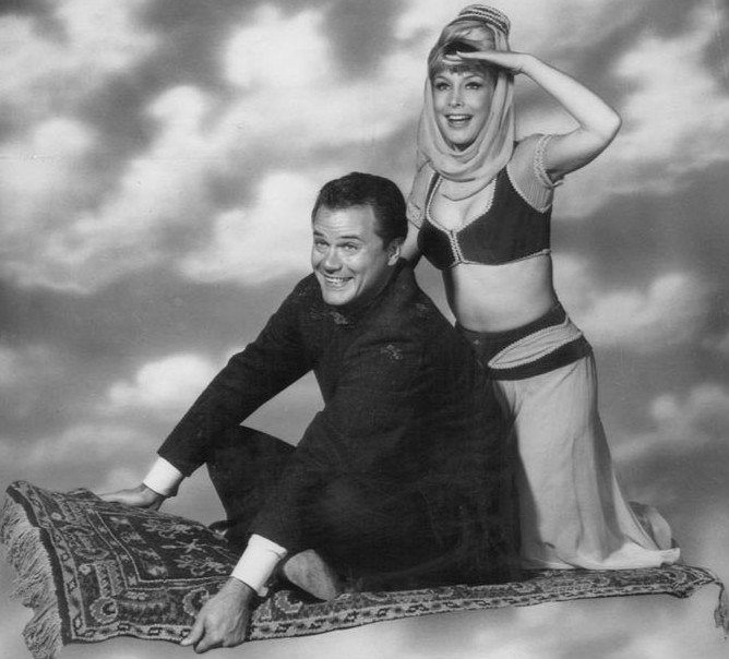 """Publicity photo of Larry Hagman and Barbara Eden from """"I Dream of Jeannie"""" 