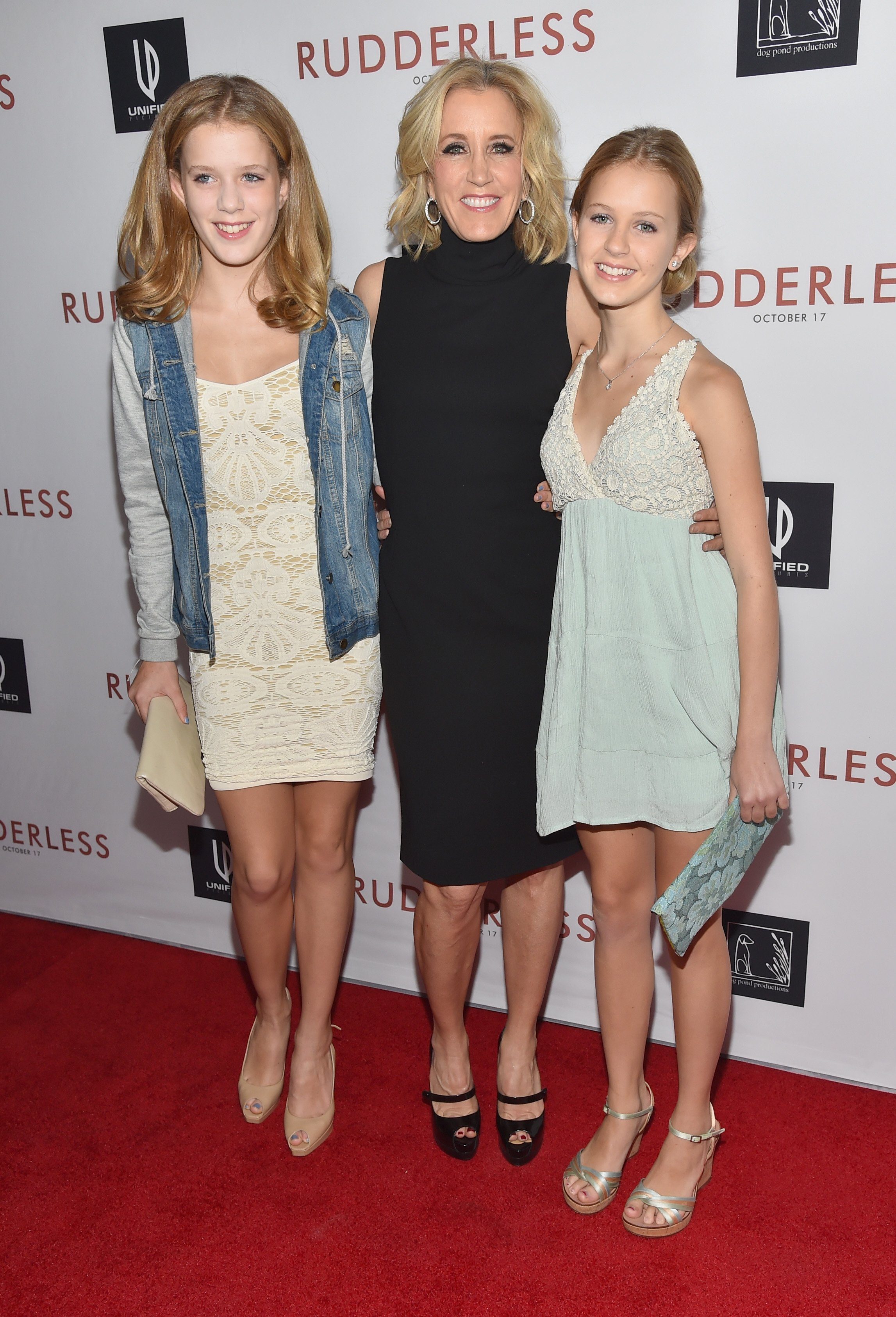 "Sophia Macy, actress Felicity Huffman and Grace Macy attend the Screening Of Samuel Goldwyn Films' ""Rudderless"" on October 7, 2014. 