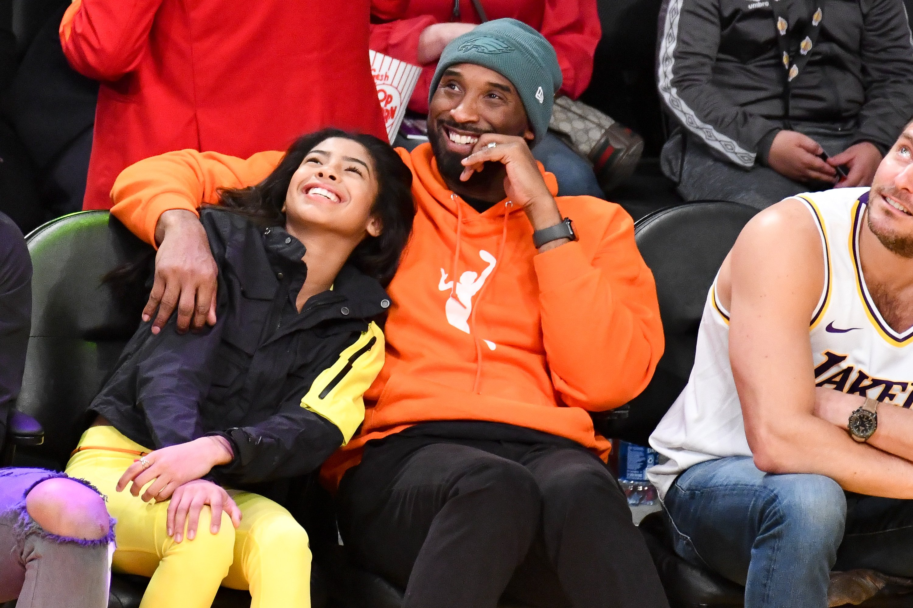 Kobe Bryant and his daughter, Gianna, pictured enjoying a basketball game between the Los Angeles Lakers and the Dallas Mavericks, 2019, California.   Photo: Getty Images.