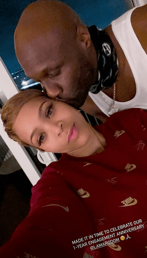 A picture of Sabrina Parr and her fiance, Lamar Odom, cozying up as they celebrate their anniversary on Instagram story | Photo: Instagram/getuptoparr
