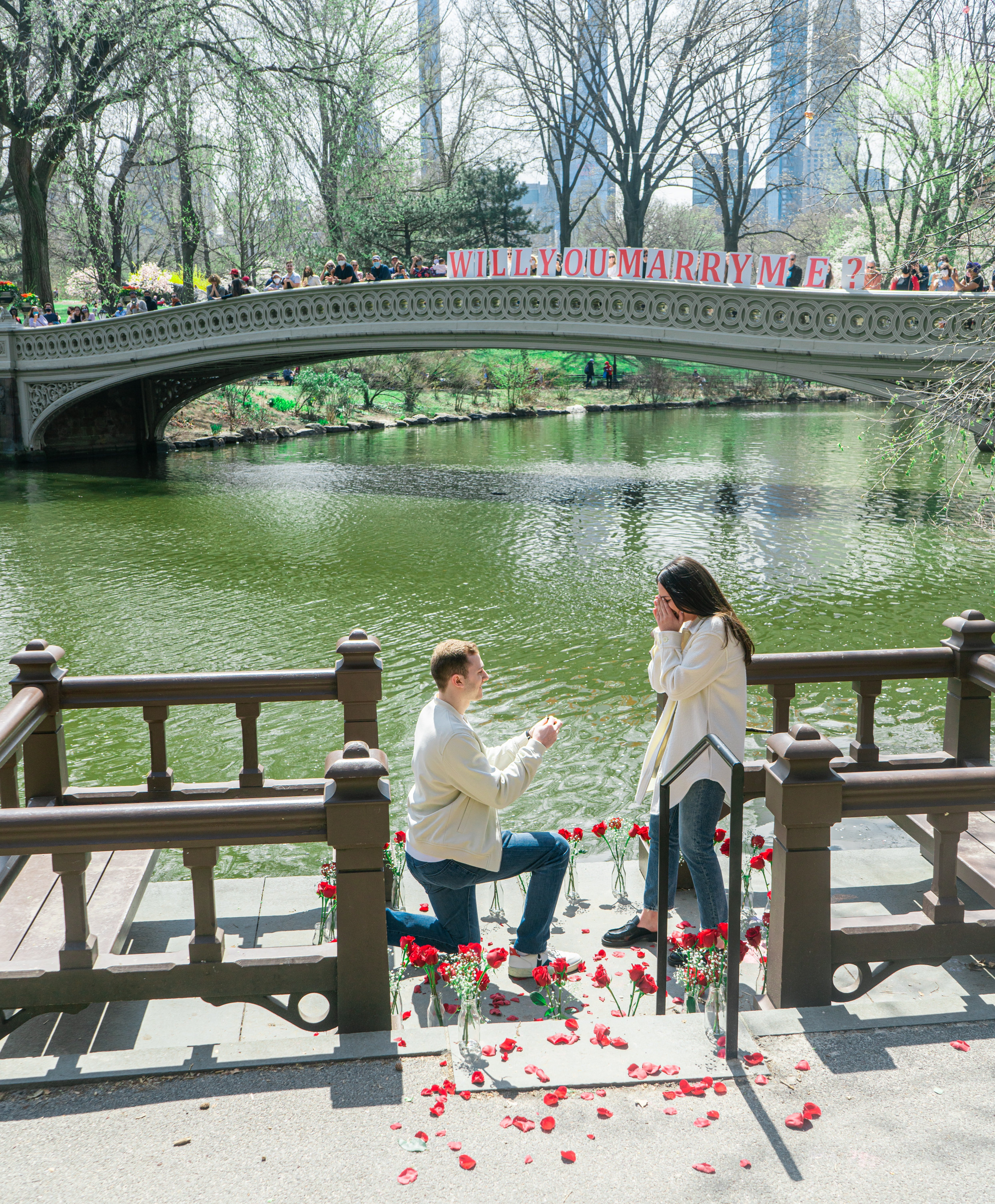 A man elaborately proposes to a woman next to a river with red roses a sign that asks her the big question | Photo: Unsplash/Dylan Sauerwein