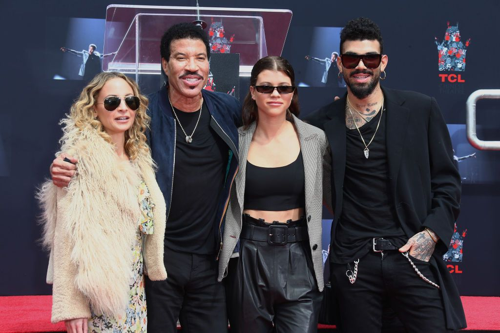 Nicole Richie, Lionel Richie, Sofia Richie and Miles Richie at the Lionel Richie Hand And Footprint Ceremony at TCL Chinese Theatre on March 7, 2018.   Source: Getty Images