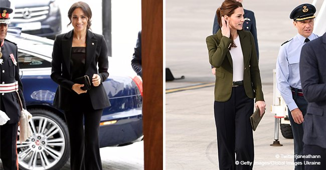 Kate Middleton looks classy in a blazer that's very similar to Meghan's trademark outfit