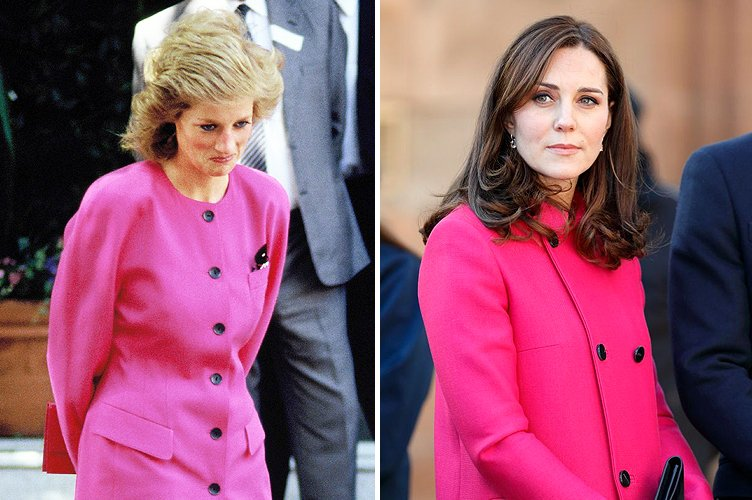 Princess Diana in June 1990 and Duchess Kate Middleton in March 2015 | Photo: Getty Images