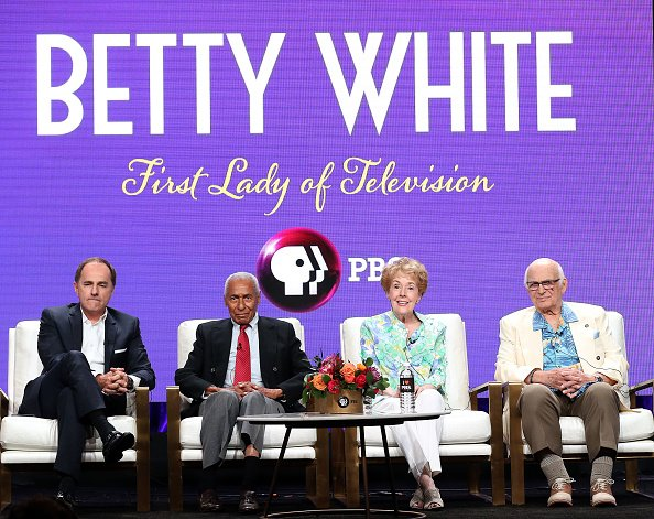 Steve Boettcher, Arthur Duncan, Georgia Engel, and Gavin MacLeod at the Beverly Hilton Hotel on July 31, 2018 in Beverly Hills, California. | Photo: Getty Images