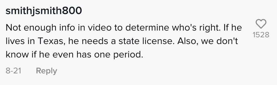 Commenters react to an officer who claimed a man was in violation of Texan law because he did not have license from that state | Photo: TikTok/notthisagainla