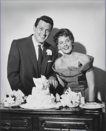American actor Rock Hudson (1925 - 1985) with Phyllis Gates (1925 - 2006), on their wedding day, Santa Barbara, California, 9th November 1955.| Source: Getty Images