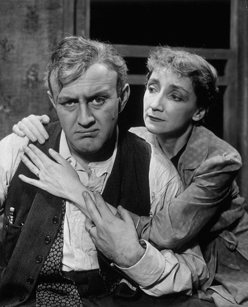 """Lee J Cobb and Mildred Dunnock in a US production of Arthur Miller's """"Death Of A Salesman"""" 