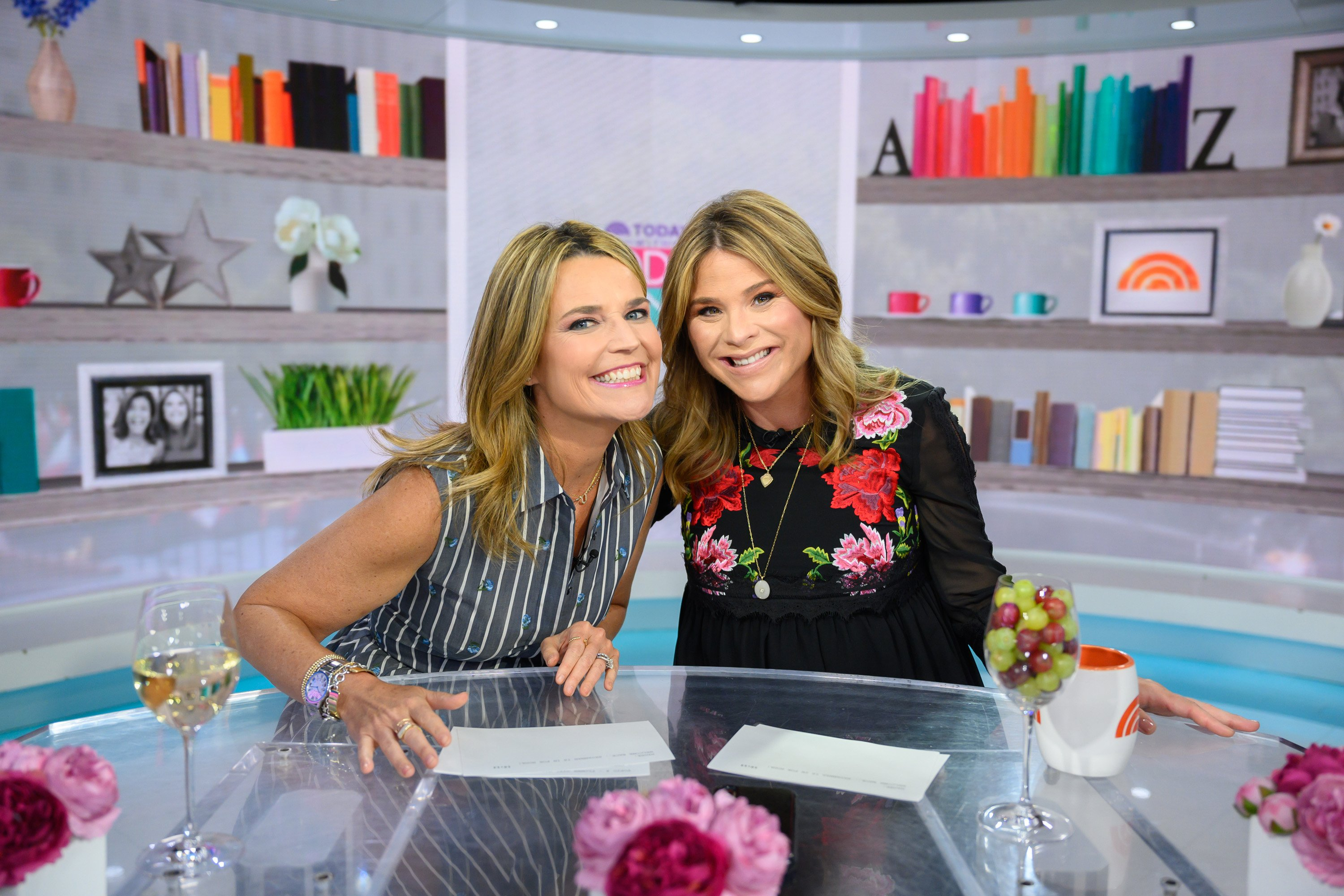 "Lawyer and TV host Savannah Guthrie and co-host Jenna Bush Hager in ""Today"" set. 