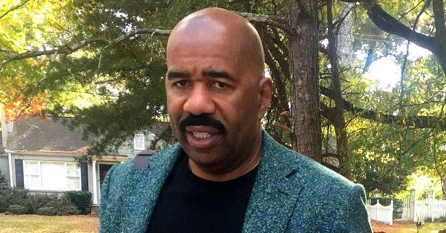 Steve Harvey Looks Dapper Posing in a Photo in a Lemon Yellow Shirt with Matching Trousers