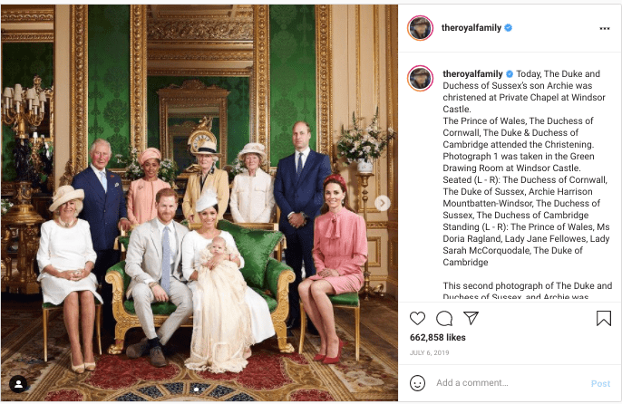 A screenshot of Royal Family's post on their instagram page | Photo: instagram.com/theroyalfamily/