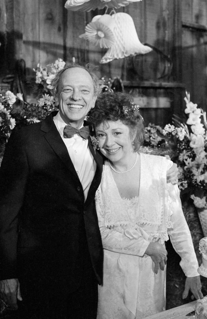 """Don Knotts as Barney Fife, Betty Lynn as Thelma Lou on """"Return to Mayberry,"""" 1986   Photo: GettyImages"""
