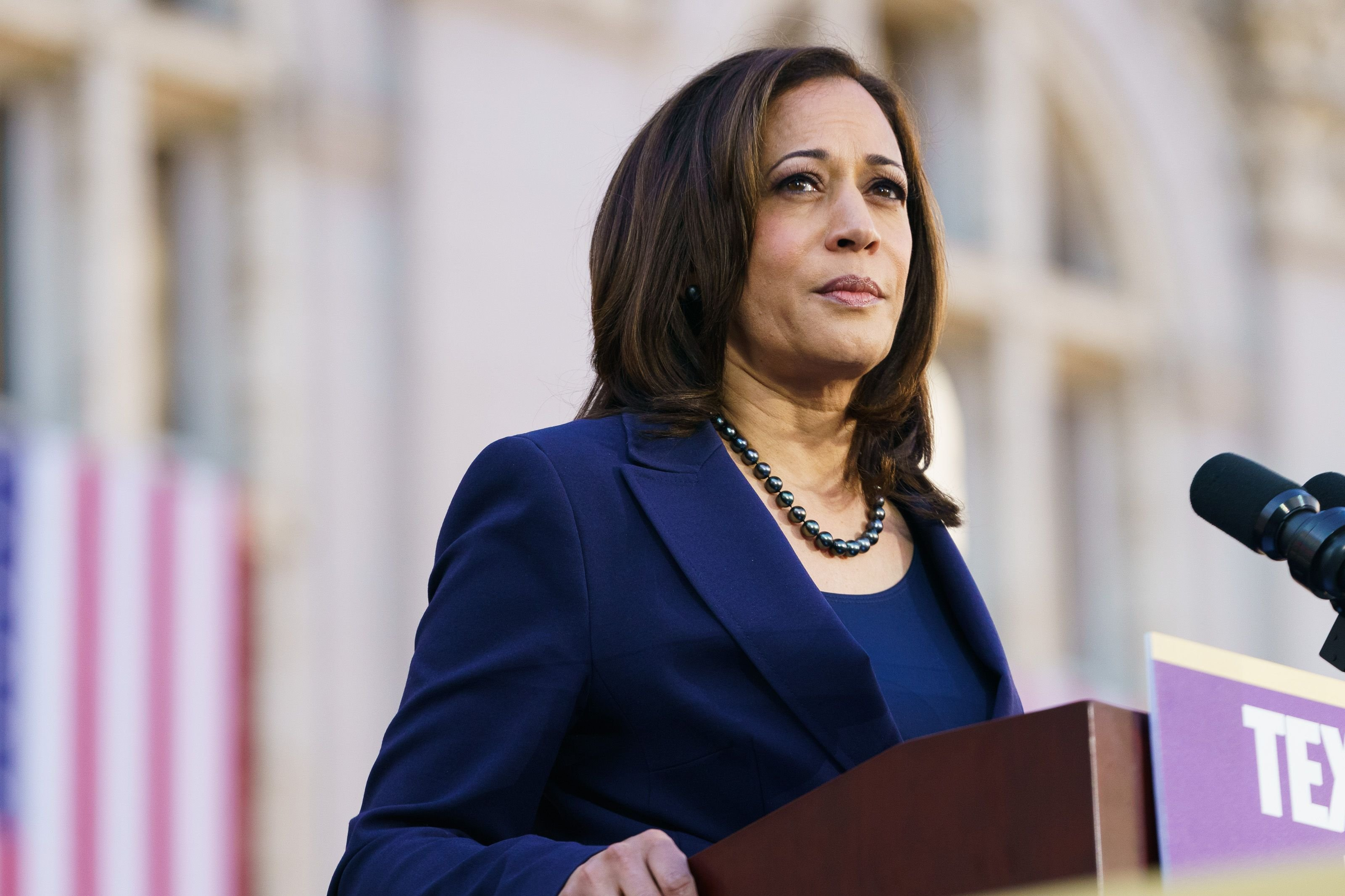 Vice President Kamala Harris speaks to her supporters during her presidential campaign launch rally in Frank H. Ogawa Plaza on January 27, 2019, in Oakland, California.   Photo: Getty Images