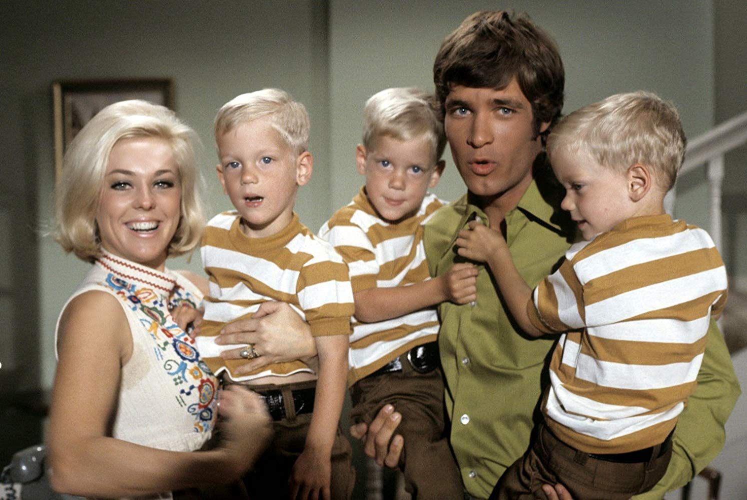 "Casts of ""My Three Sons"" posing on the set of the show 
