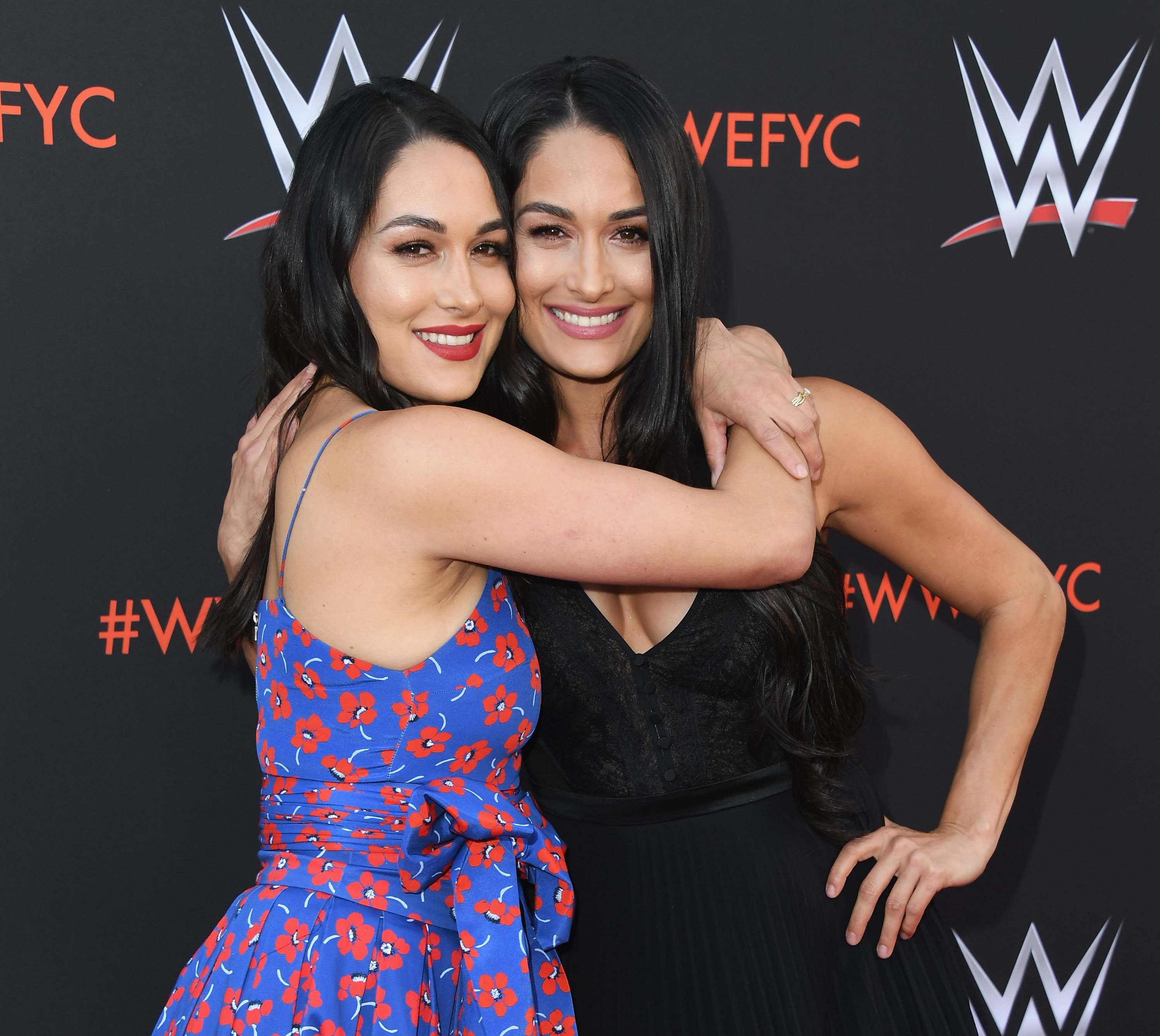 "Brie Bella and Nikki Bella attend WWE's First-Ever Emmy ""For Your Consideration"" Event on June 6, 2018, in North Hollywood, California. 