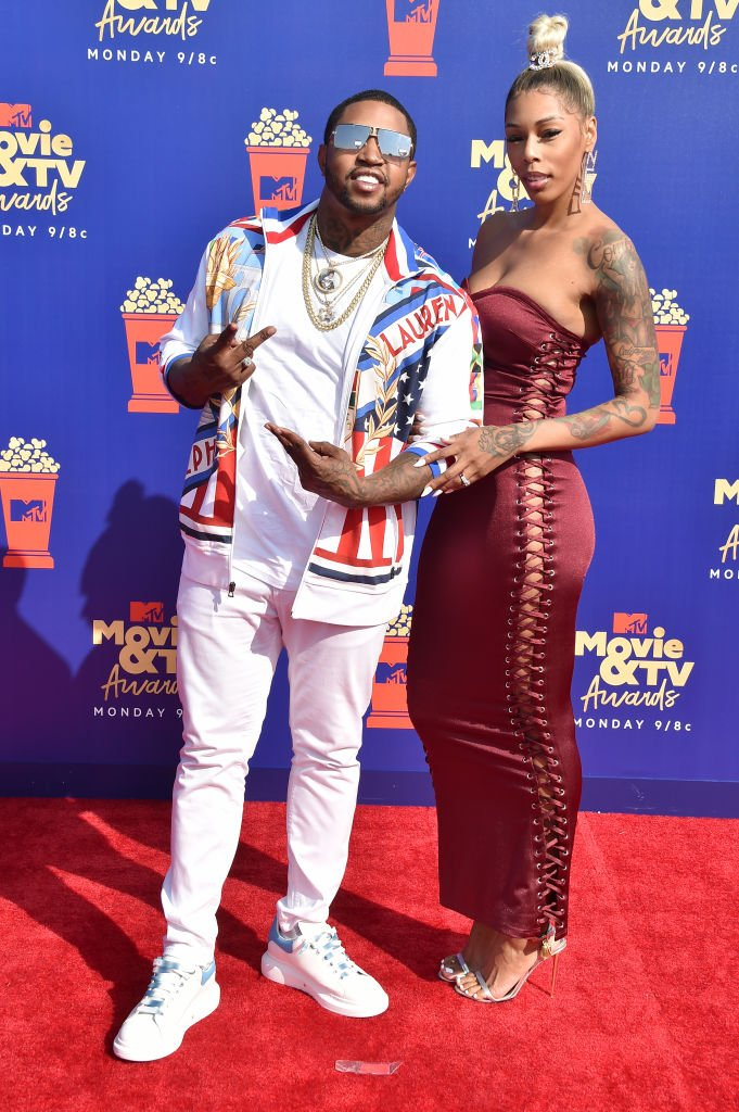 "Lil Scrappy and Adiz ""Bambi"" Benson attend the 2019 MTV Movie and TV Awards in Santa Monica, California. 
