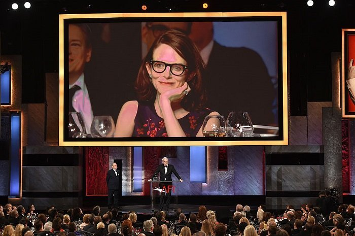 Anne Stringfield on the screen while Steve Martin accepts the AFI Life Achievement Award at the Dolby Theatre on June 4, 2015 in Hollywood, California | Source: Getty Images