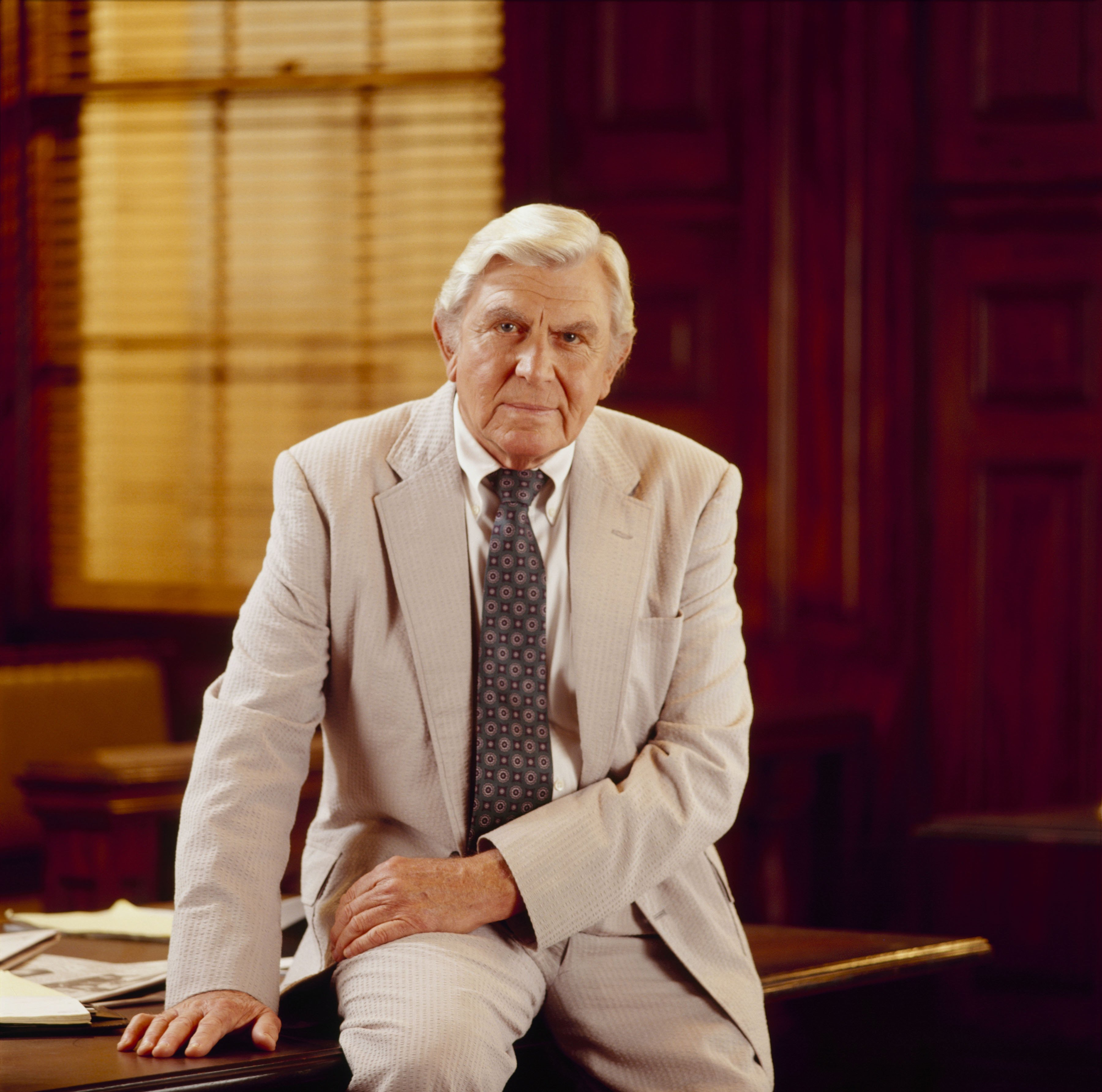 """A picture taken of Andy Griffith while he starred in """"Matlock"""" on November 24, 1992.   Source: Getty Images"""