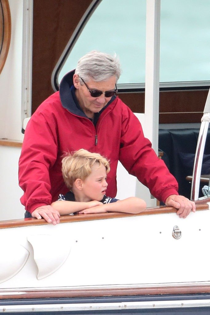 Michael Middleton and Prince George watch the inaugural King's Cup regatta hosted by the Duke and Duchess of Cambridge on August 08, 2019 in Cowes, England.   Photo: Getty Images