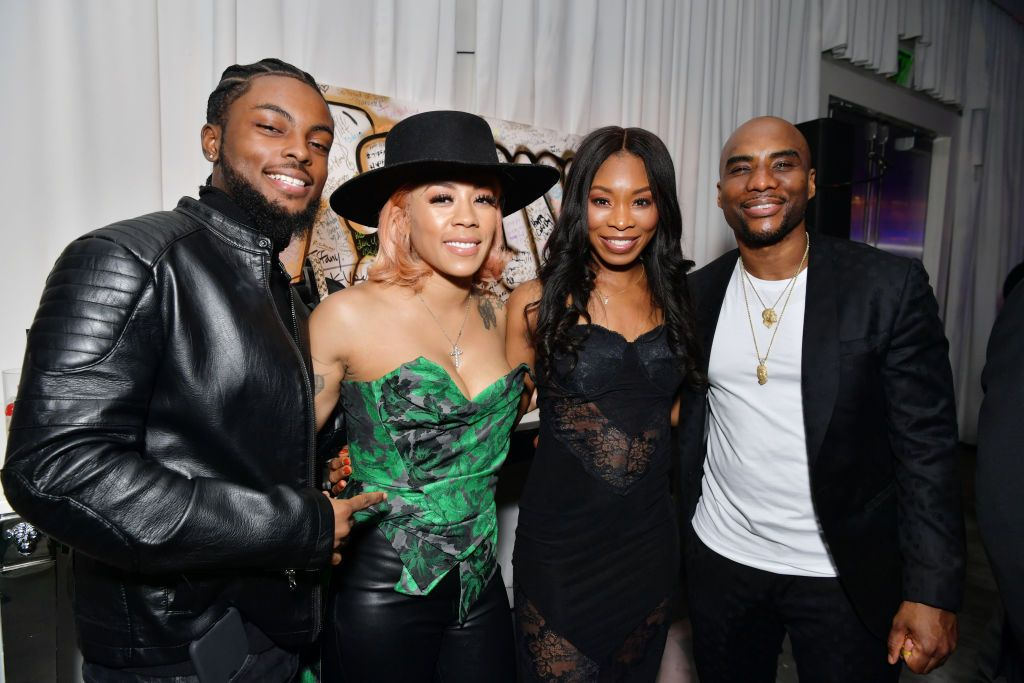 """Niko Khalé, Keyshia Cole. Jessica Gadsden and Charlamagne tha God at """"Tiffany Haddish: Black Mitzvah"""" in December 2019 in Beverly Hills   Source: Getty Images"""