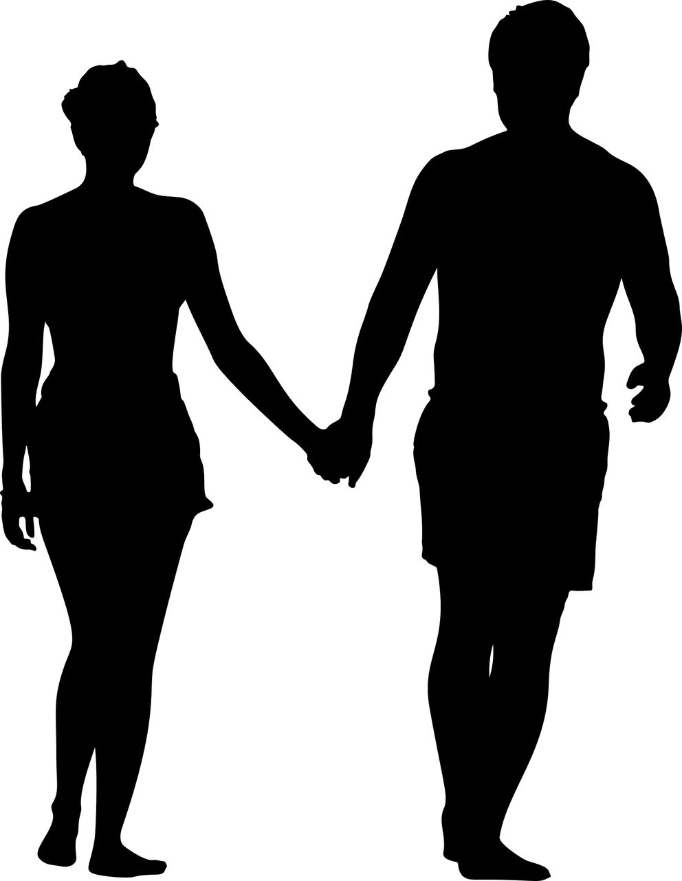 A silhouette of a couple holding hands. | Source: Pixabay