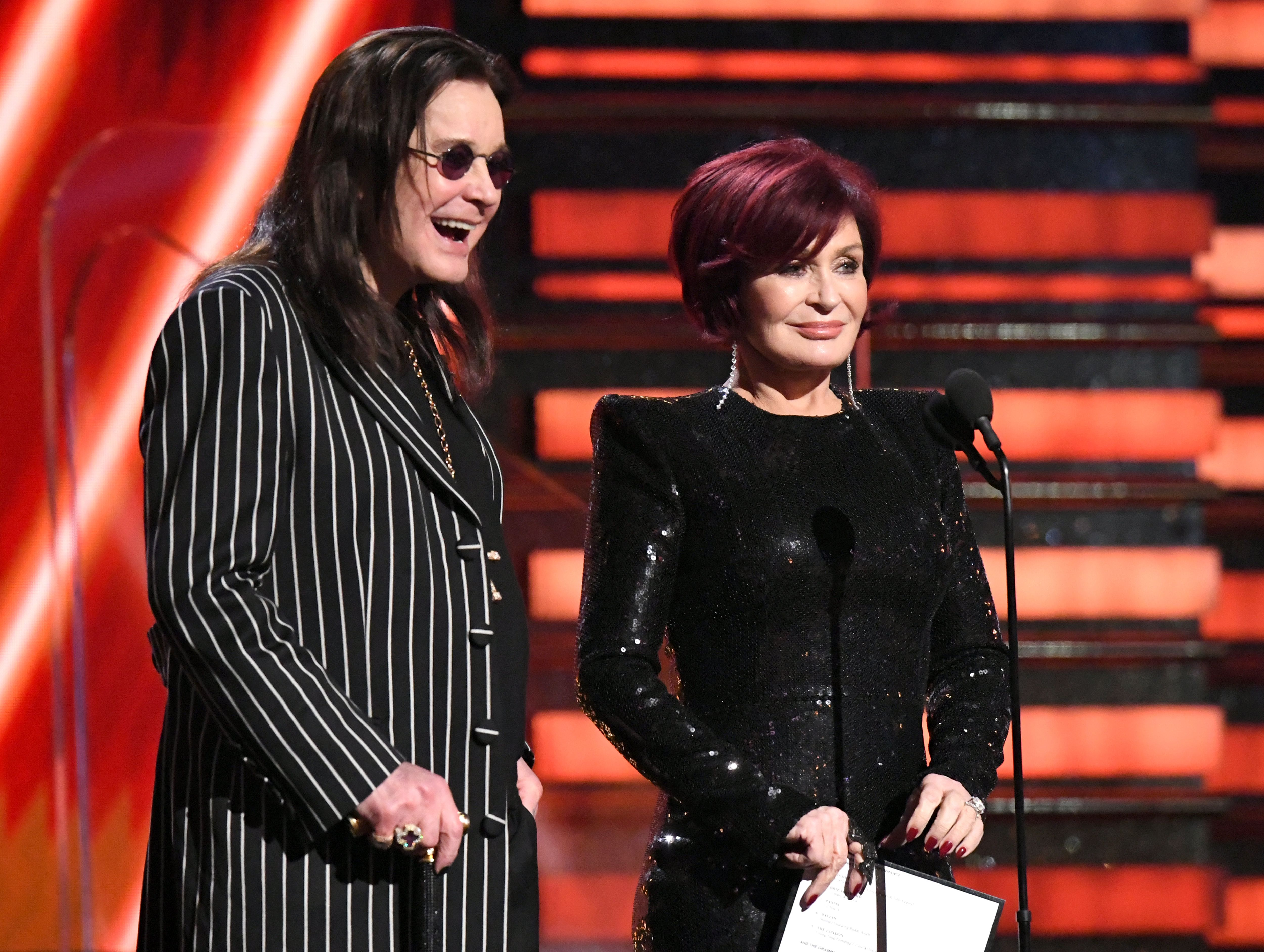 Ozzy Osbourne and Sharon Osbourne speak onstage at the 62nd Annual GRAMMY Awards at Staples Center on January 26, 2020 in Los Angeles, California   Photo: Getty Images