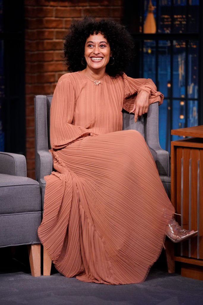 """Black-ish"" star Tracee Ellis Ross during her 2019 TV guesting on the ""Late Night Show with Seth Meyers"" in NBC. 