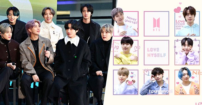 """Jimin, Jungkook, RM, J-Hope, V, Jin, and Suga of BTS visit the """"Today"""" show on February 21, 2020, in New York City and Love Myself Twitter campaign in August 2021 