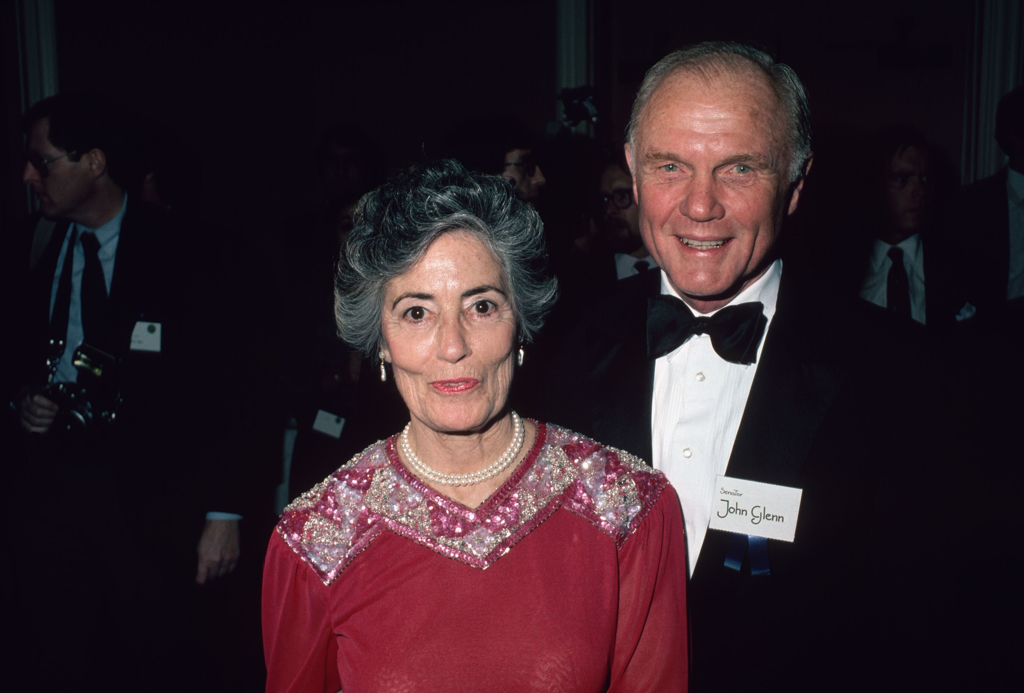 John Glenn Standing with His Wife, Annie Glenn for a portrait on December 01, 1983 | Photo: Getty Images