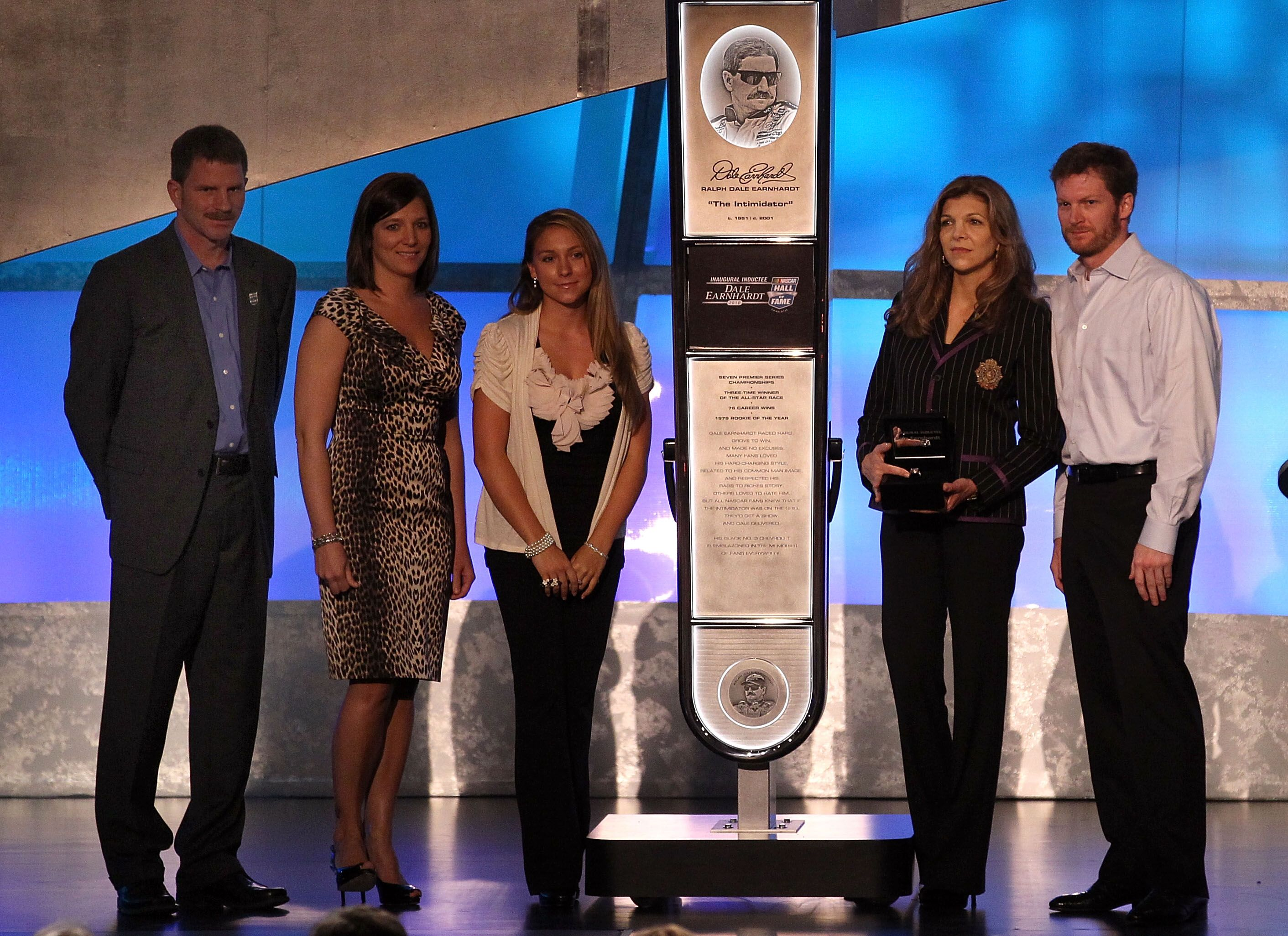 Dale Earnhardt Jr., Teresa Earnhardt, Kerry Earnhardt, Kelley Earnhardt Elledge and Taylor Earnhardt at the ceremony inducting Dale Earnhardt Sr. into the 2010 NASCAR Hall of Fame in Charlotte, North Carolina | Source: Getty Images