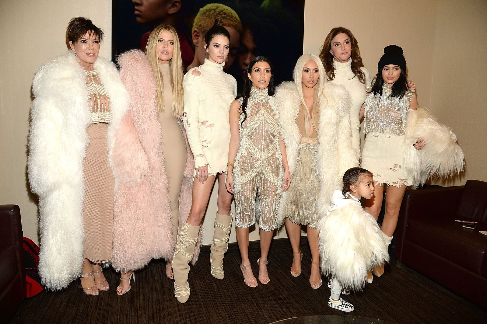 Khloe Kardashian, Kris Jenner, Kendall Jenner, Kourtney Kardashian, Kim Kardashian West, North West, Caitlyn Jenner and Kylie Jenner attend Kanye West Yeezy Season 3 at Madison Square Garden on February 11, 2016 in New York City. | Photo: Getty Images.
