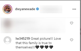 Another comment complimenting Dwayne Wade's beautiful family on Instagram | Photo: Instagram/dwyanewade