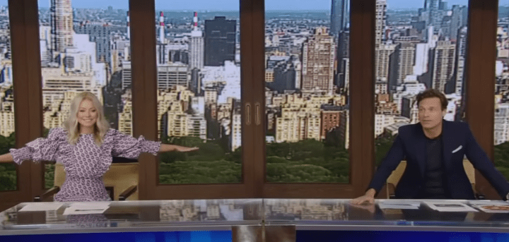 """Kelly Ripa and Ryan Seacrest back in the studio for the 33rd season of """"Live with Kelly and Ryan"""" on September 8, 2020."""