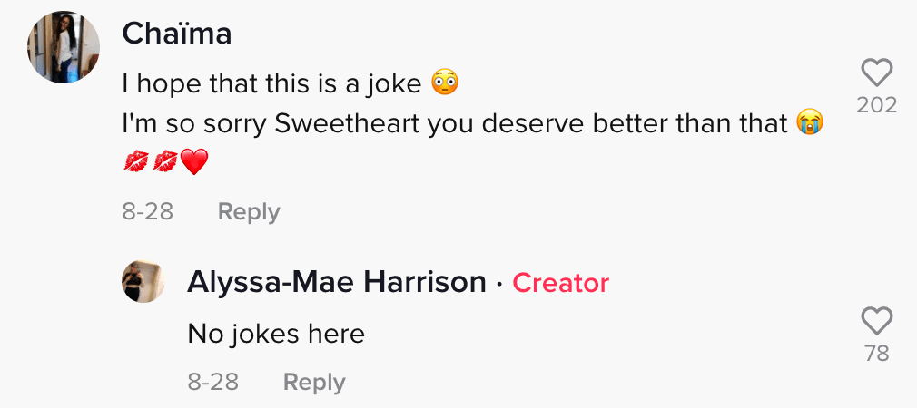 Commenters react to a woman whose boyfriend cheated on her with her mother while she was in labor   Photo: TikTok/alyssa_mae1320
