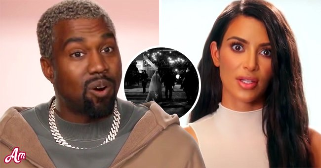 """A picture of Kanye West and Kim Katrdashian from a clip from """"Keeping Up With The Kardashians"""" 