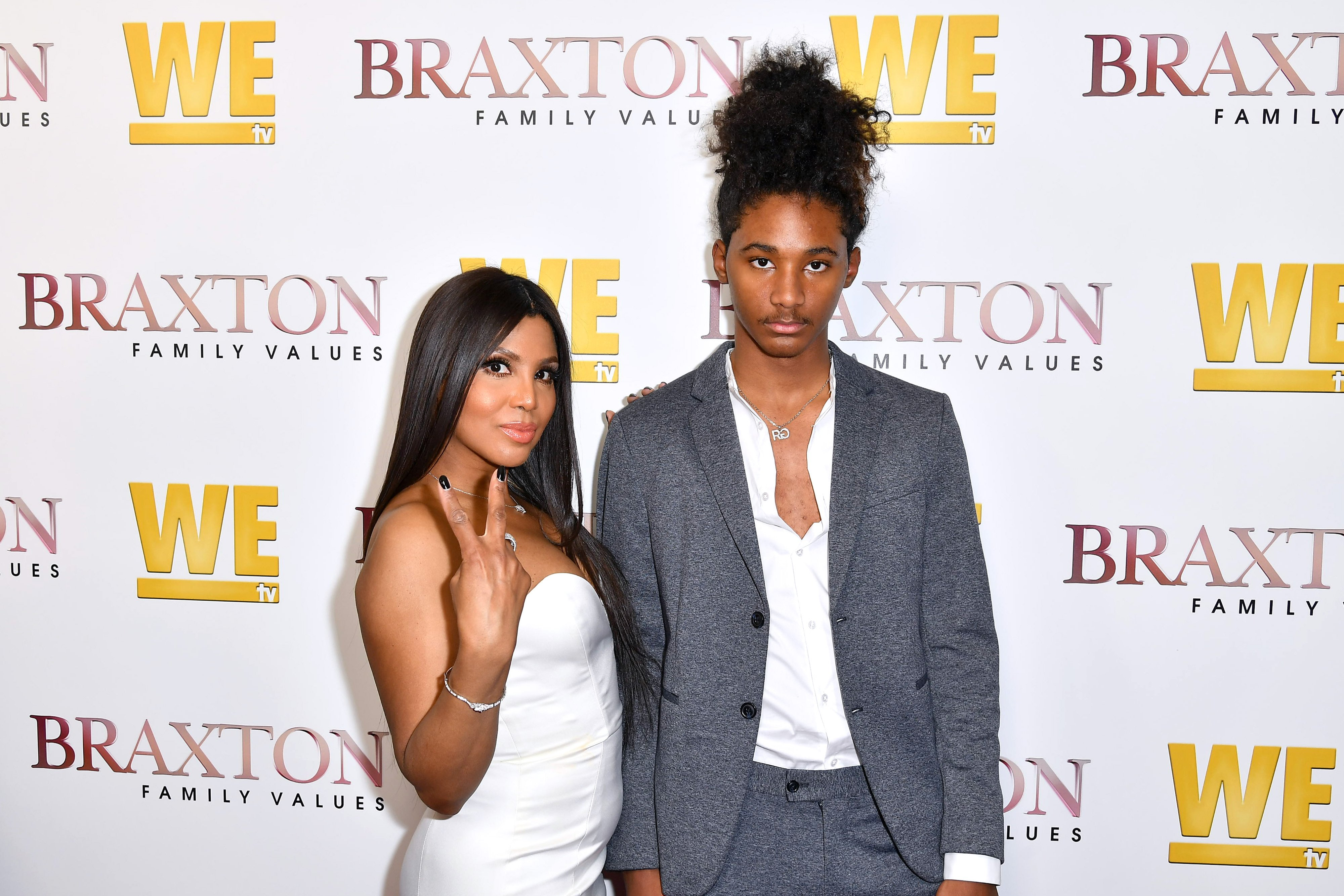 """Toni Braxton and her son Diezel attend WE tv's """"Braxton Family Values"""" premiere on April 02, 2019 in California. 