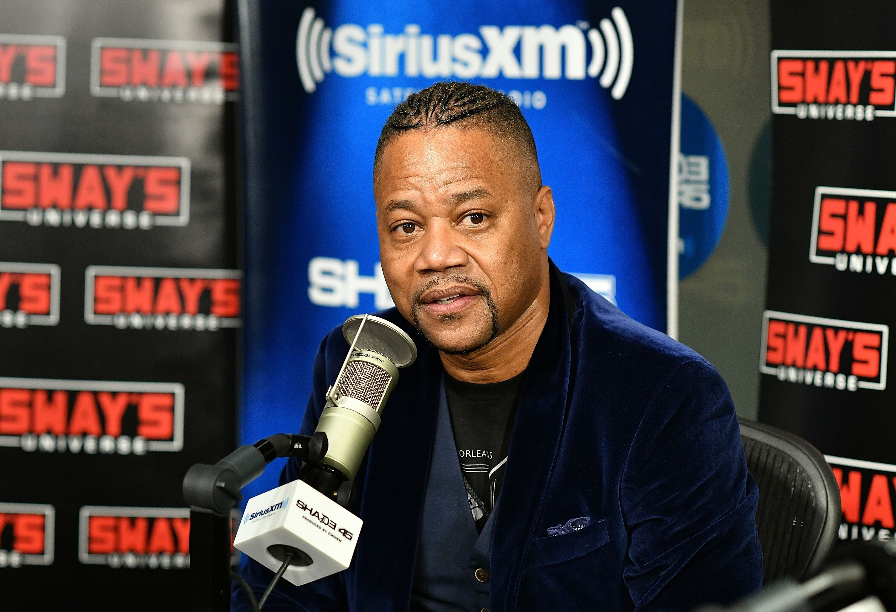 Cuba Gooding Jr being interviewed by Sirius XM radio/ Source: Getty Images