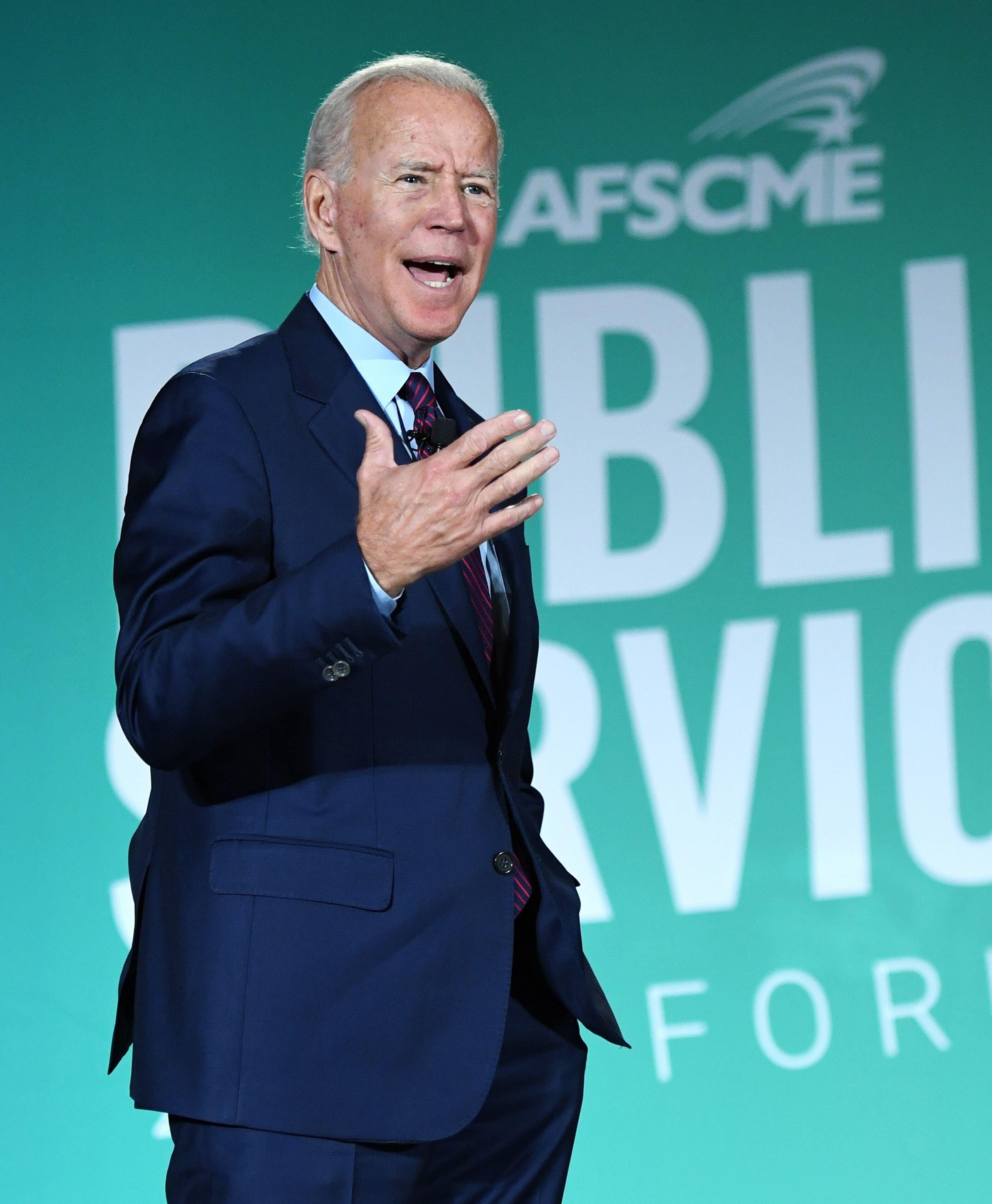 Joe Biden speaking at the AFSCME forum. | Source: Getty Images