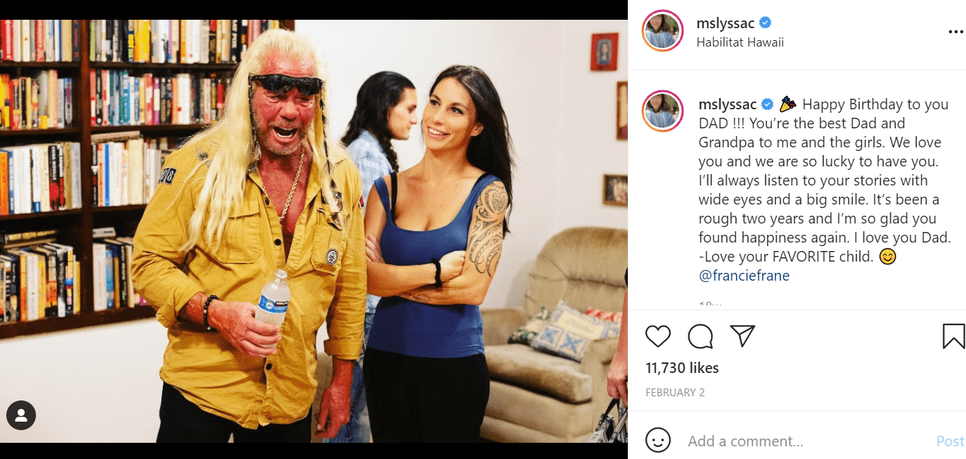 Pictured - Lyssa Chapman and her father Duane Chapman having a father and daughter moment | Source: Instagram/@mslyssac