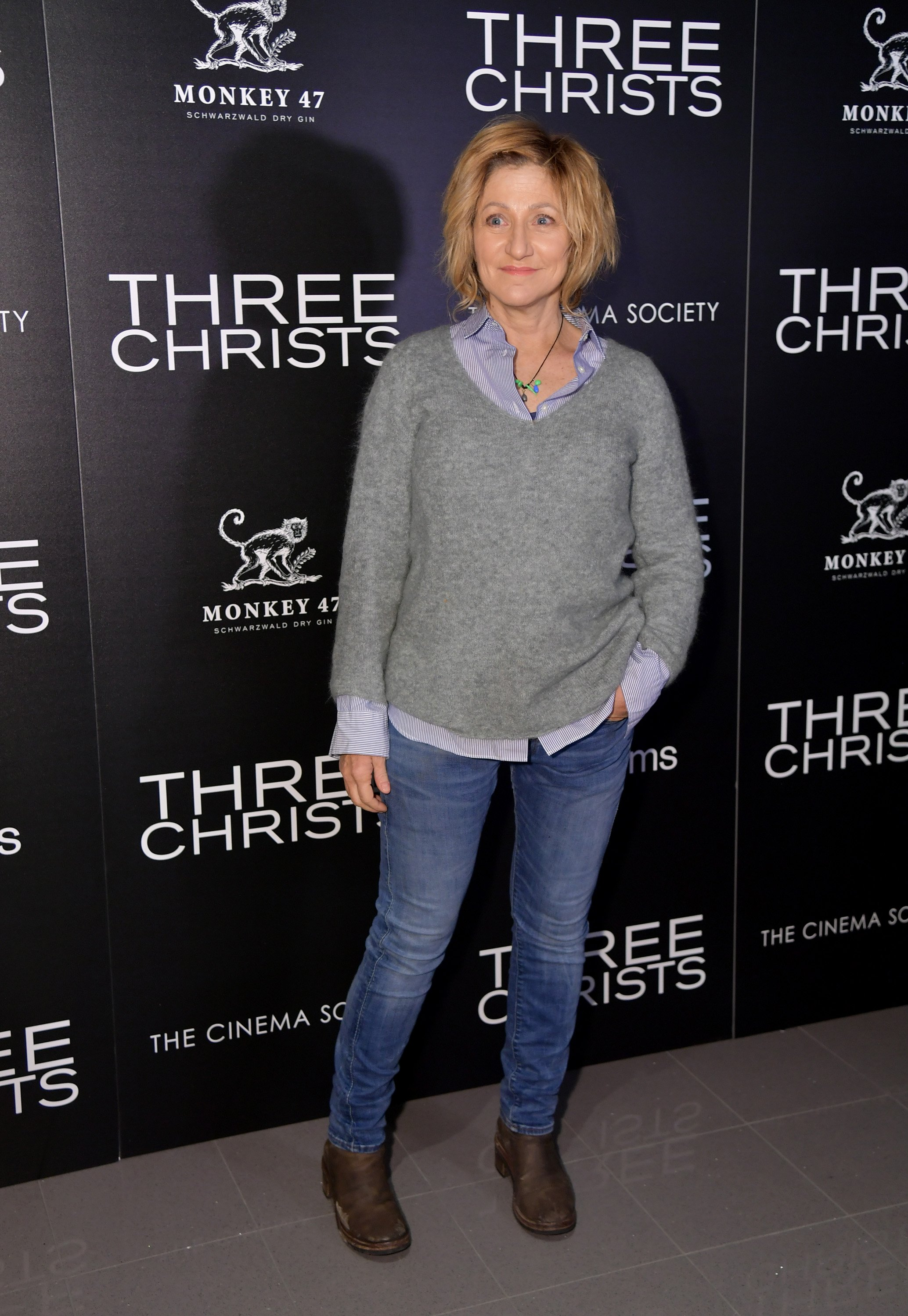 "Edie Falco attends the IFC And The Cinema Society Host A Screening Of ""Three Christs"" on January 09, 2020 