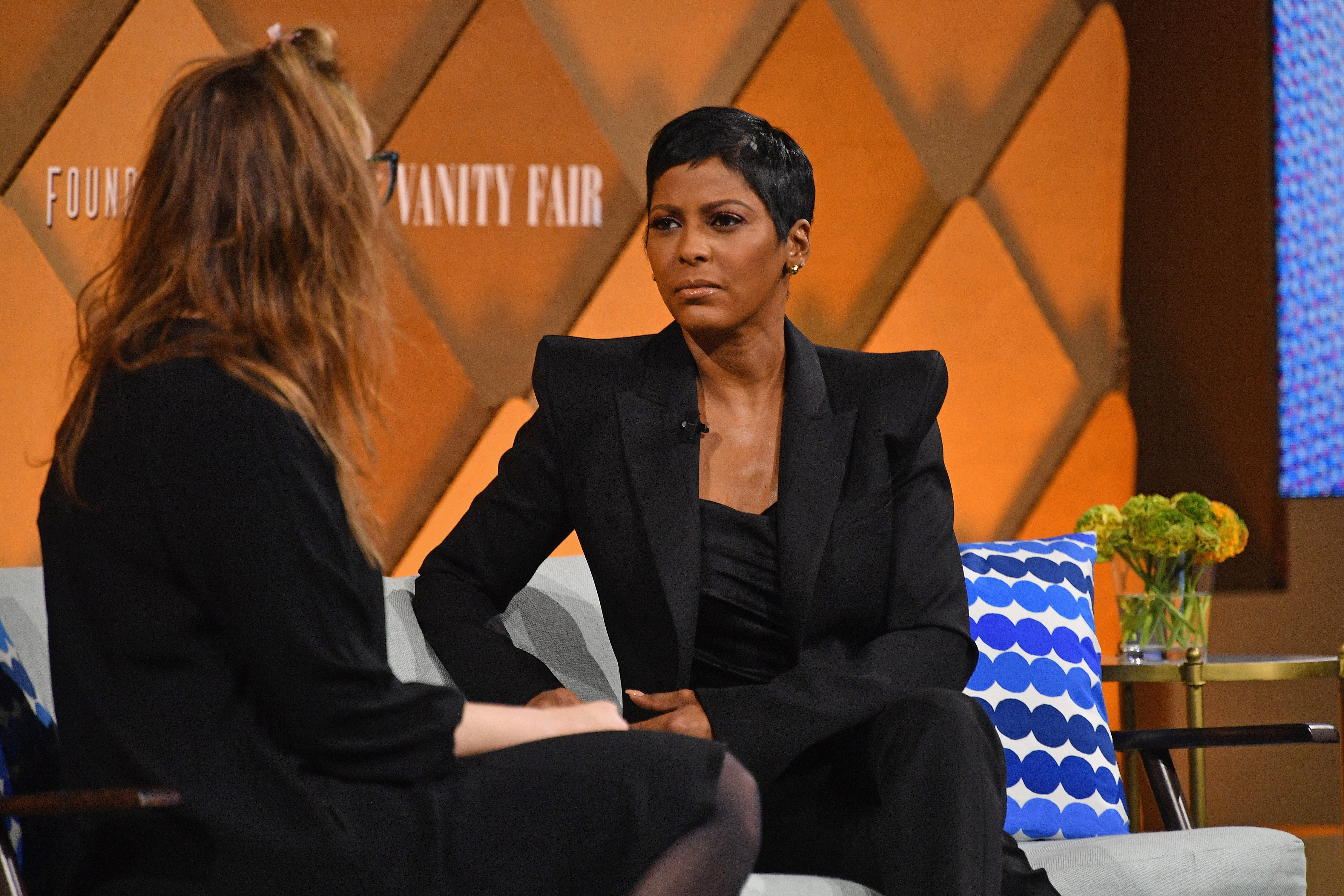 Tamron Hall speaks to The Player's Tribune president and co-founder Jaymee Messler onstage during Vanity Fair's Founders Fair at Spring Studios on April 12, 2018. | Photo: GettyImages