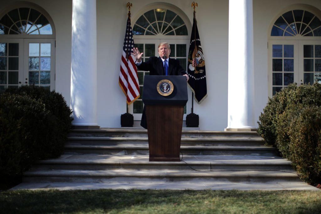 President Donald Trump giving a speech in the White House Rose Garden in February 15, 2019 | Photo: Getty Images